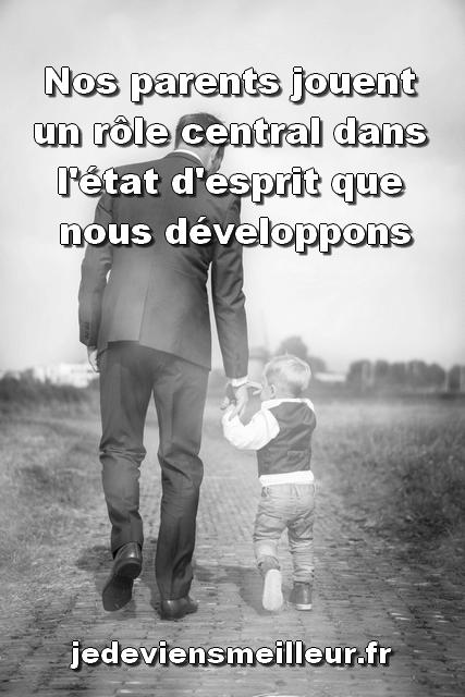 Nos parents jouent un rôle central dans l'état d'esprit que nous développons